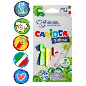 Фломастеры для ткани 6 цветов, Carioca Fabric, 6.0 мм Ош