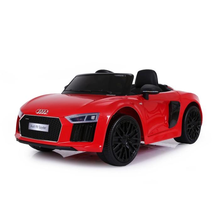 Электромобиль AUDI R8 Spyder, EVA колёса, кожаное сидение, цвет красный глянец