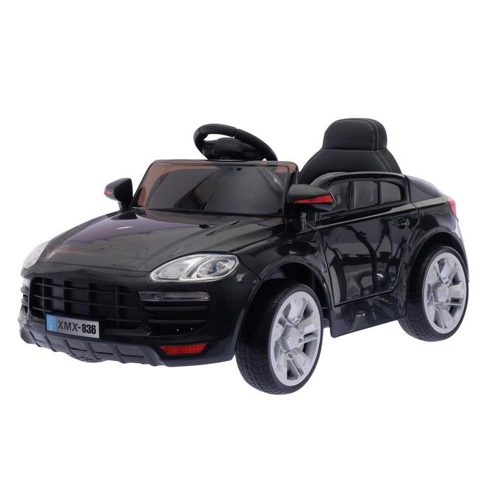 """Электромобиль """"Порше"""", 2 мотора, EVA колеса, активная подвеска, кож.сидение, цвет черный"""