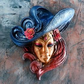 Венецианская маска 'Розы'  26см золото Ош