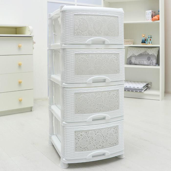 Комод 4-х секционный «Ажур», цвет белый