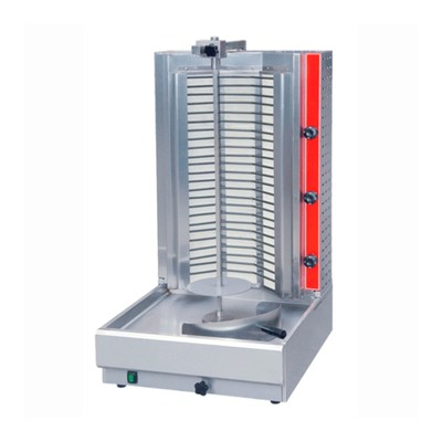 Гриль Gastrorag HES-E2,  для шаурмы, электрический, настольный, 3 зоны нагрева, серебристый   323580