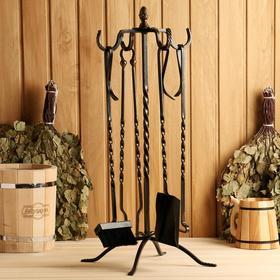 Каминный набор кованый 'Спирали', цвет бронза, 4 предмета: кочерга, щипцы, совок, метёлка Ош