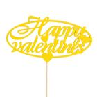 Топпер «Happy valentines», жёлтый, 12,5х6,5 см