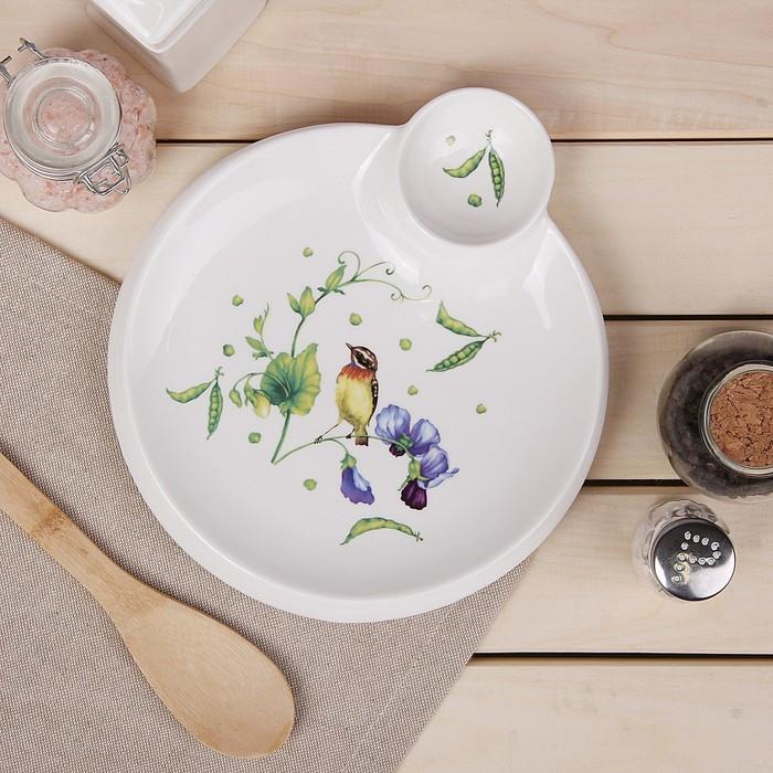Блюдо круглое с соусником Доляна «Зелёный сад», 22,5×20×2 см