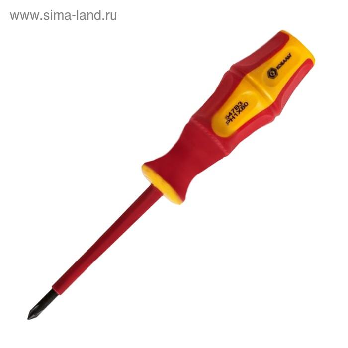 """Отвертка диэлектрическая """"КОБАЛЬТ"""" 646-492, Ultra Grip, PH-1х80 мм, двухкомп. Рукоятка"""