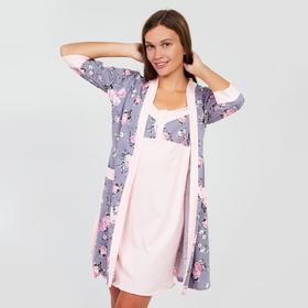 Комплект женский (халат, сорочка) М7 цвет розовый, р-р 44