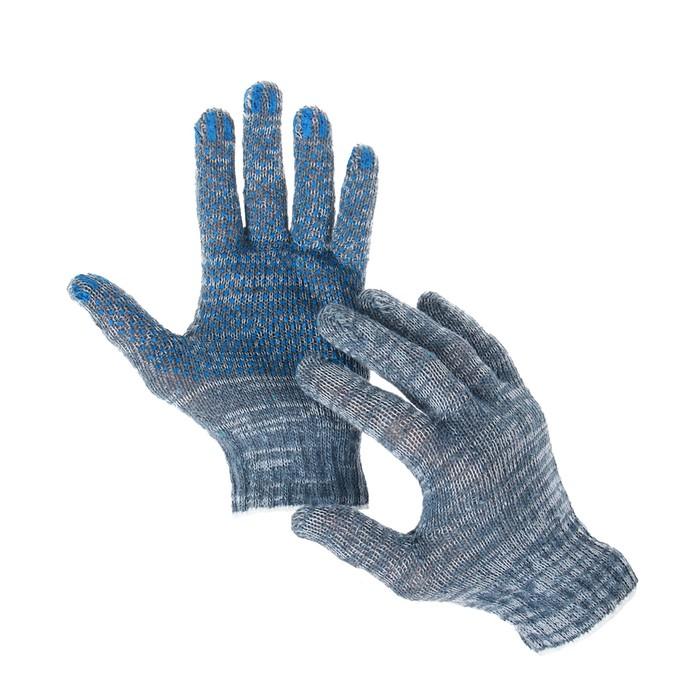 Перчатки, хб, вязка 7 класс, 3 нити, размер 9, с ПВХ точками, серые