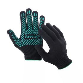 Перчатки, х/б, вязка 10 класс, 6 нитей, размер 9, с ПВХ протектором, чёрные, Greengo