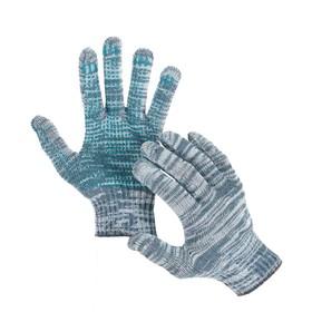 Перчатки, х/б, вязка 10 класс, 4 нити, размер 9, с ПВХ протектором, серые, Greengo Ош
