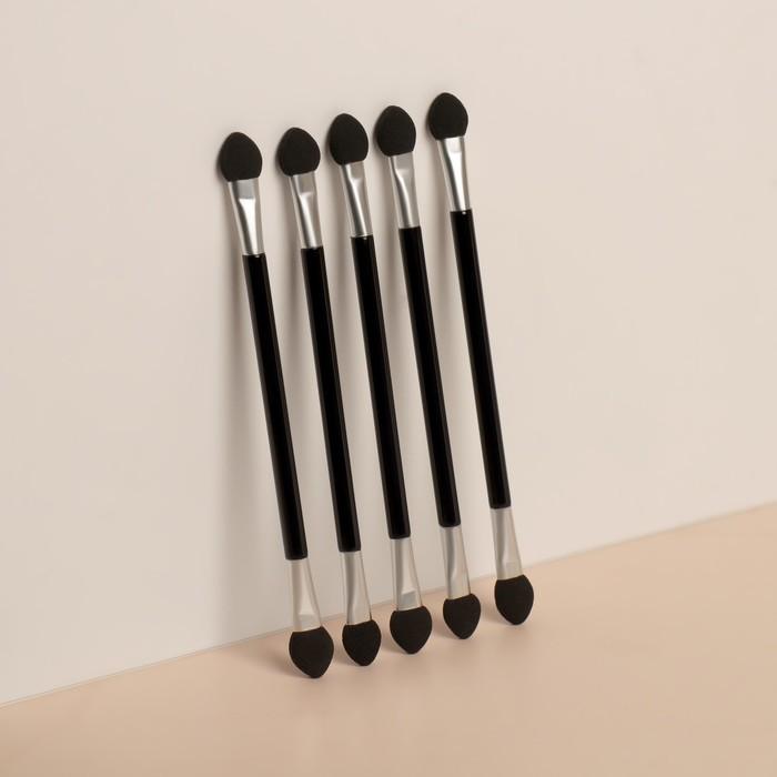 Набор аппликаторов для теней, 5 шт, 11,5 см, двусторонние, цвет чёрныйсеребристый