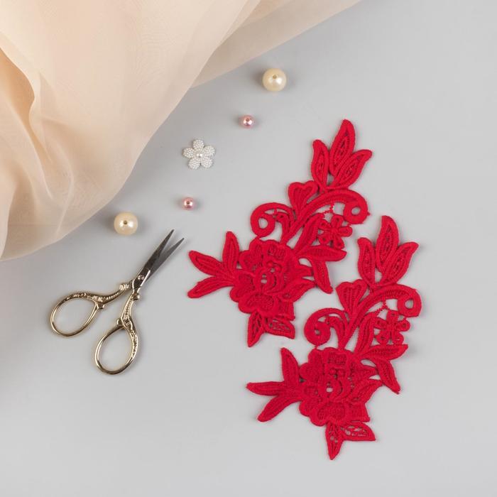 Аппликации пришивные «Лейсы», 15 × 8,5 см, пара, цвет красный