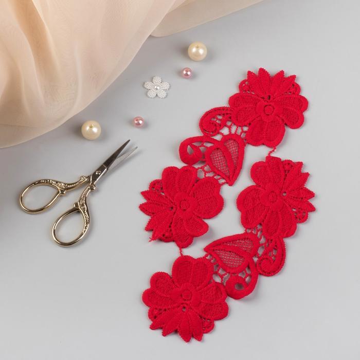 Аппликации пришивные «Лейсы», 17 × 6 см, пара, цвет красный