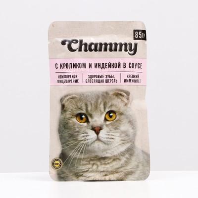 Влажный корм Chammy для кошек, кролик/индейка в соусе, пауч, 85 г - Фото 1