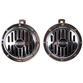 Сигнал звуковой Skyway 001 SUPER HORN, дисковый, d=125 мм, 12 В, 105 Дцб, металл, 2 шт Ош