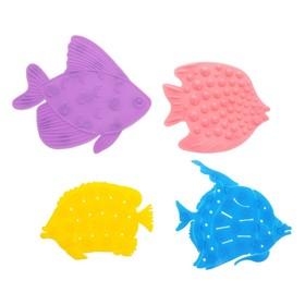 Набор мини-ковриков для ванной 4 шт, «Рыбки», на присосах, цвет МИКС