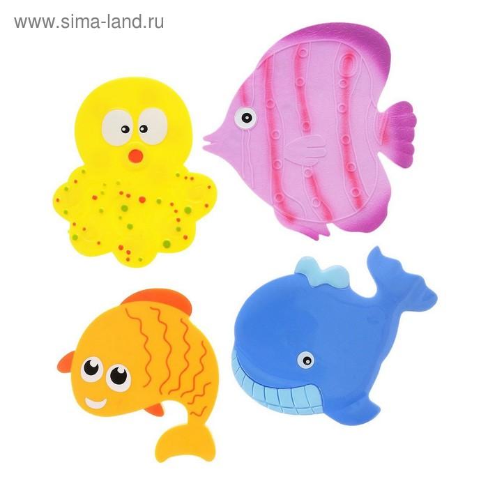 Набор мини-ковриков для ванной 4 шт, «Подводный мир», на присосах, цвет МИКС