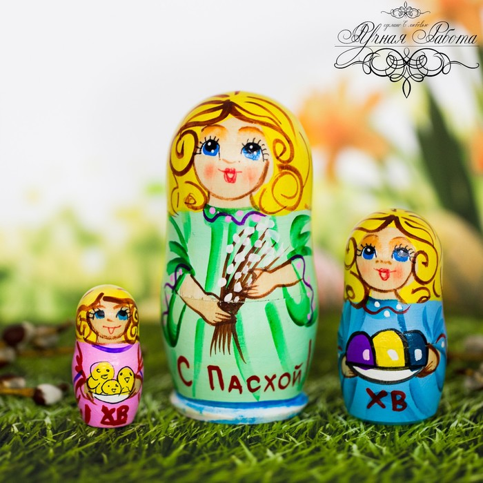 Матрёшка 3-х кукольная Пасхальный ангел, 11 см