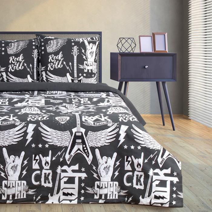 Постельное бельё Этель Rock&Roll, дуэт, 143 × 215 см (2 шт.), 220 × 240 см, 70 × 70 см (2 шт.), хлопок 100 %, бязь