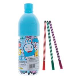 Фломастеры, 36 цветов, в пластиковой бутылке, вентилируемый колпачок, «Полоски», МИКС
