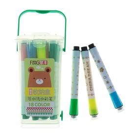 Фломастеры, 18 цветов, в пластиковом контейнере, вентилируемый колпачок, с штампами, МИКС