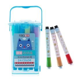 Фломастеры, 24 цвета, в пластиковом контейнере, вентилируемый колпачок, с штампами, «Полоски», МИКС