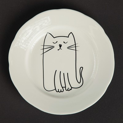"Тарелка ""Киска"" белая, 17,5 см, микс"
