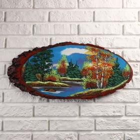 Панно на спиле 'Осень' 60 см, каменная крошка, горизонтальное Ош
