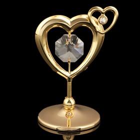 Сувенир «Сердце», 5,5х4х3 см, с кристаллами Сваровски