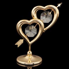 Сувенир «Сердца», 7×6×3 см, с кристаллами Сваровски