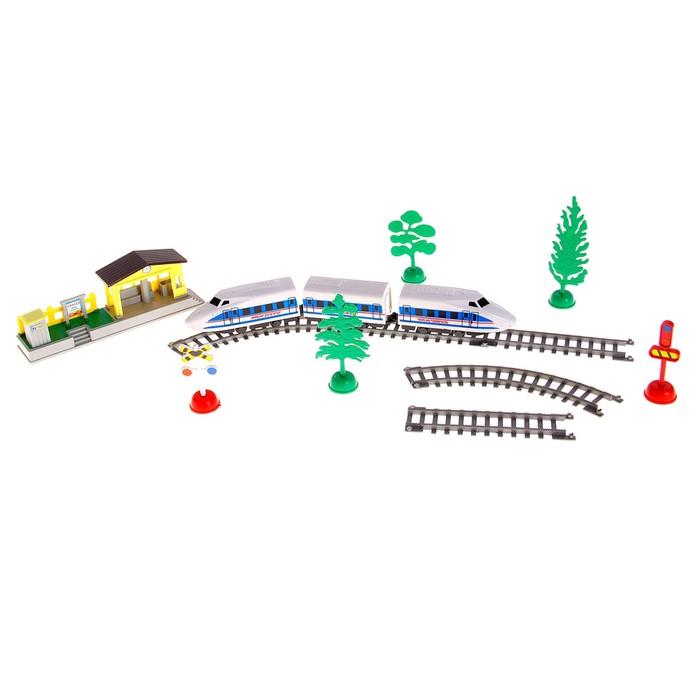 Железная дорога «Электропоезд», работает от батареек, со станцией, в пакете