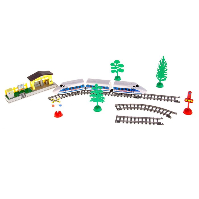 Железная дорога Электропоезд, работает от батареек, со станцией, в пакете