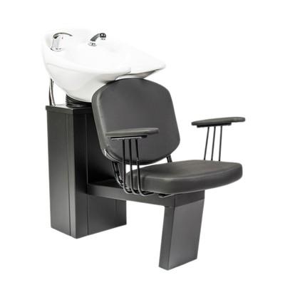 Мойка парикмахерская СИБИРЬ с креслом ЧЕСТЕР, цвет черный, цвет раковины белый