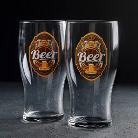 Набор бокалов для пива «Пейте пиво», 500 мл, 2 шт, рисунок МИКС