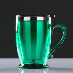 """Термокружка """"Виго"""" с ручкой, 450 мл, сохраняет тепло 2-3 ч, зелёная, 9х12.5 см"""