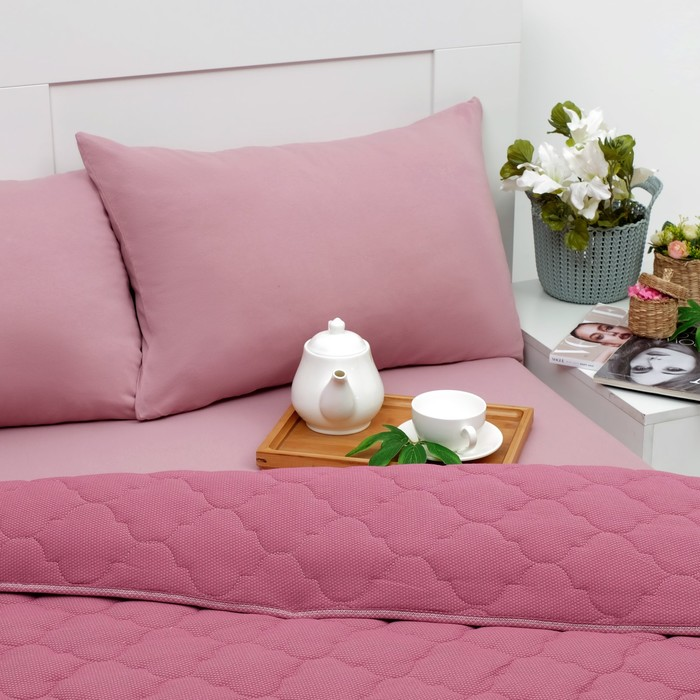 Постельное бельё Brooklin Bed 2сп брусничный 180х200 рез,одеяло170х220, 50х70 2шт, трикотаж Терри, хл100% 32429