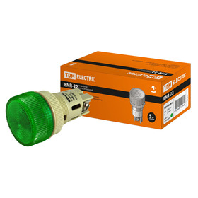 Лампа TDM ENR-22, сигнальная, d=22 мм, зеленый, неон/230 В, цилиндр, SQ0702-0013 Ош