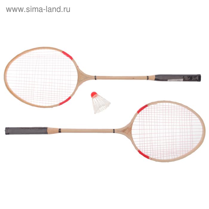 Бадминтон 3 предмета: 2 деревянные ракетки, волан, сетка, цвета МИКС