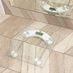 Весы напольные LuazON LVE-003, электронные, до 180 кг, от батареек (в компл.), белые Ош
