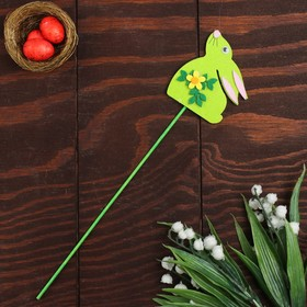 """Сувенир на палочке, декор """"Кролик с цветочком"""""""