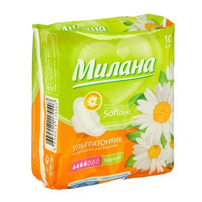Прокладки «Милана» Ultra Soft Normal Deo Ромашка, 10 шт/уп