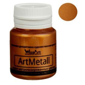 Краска акриловая Metallic, 20 мл, WizzArt, золото красное, металлик
