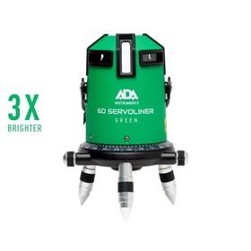 Нивелир лазерный ADA 6D Servoliner GREEN А00500, 4 луча, 50/10 м, ± 0.1 мм/м, кейс