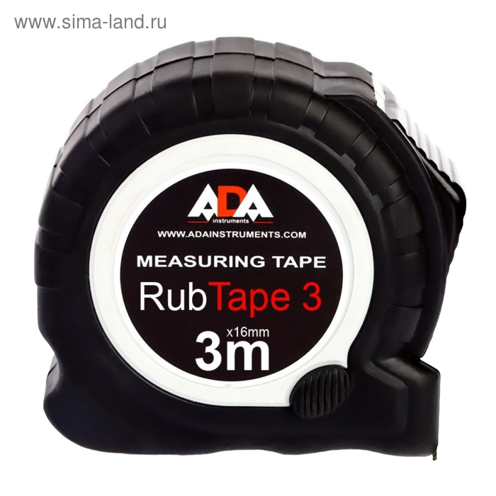 Рулетка ADA RubTape 3, сталь, с двумя СТОПами, 3 м х 16 мм
