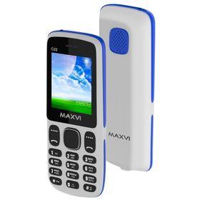 Сотовый телефон Maxvi C22, 1.77', 2 sim, 32Мб, microSD, 600 мАч, бело-синий Ош