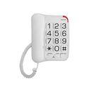 Телефон Texet TX 201, проводной, регулятор громкости, большие кнопки, белый