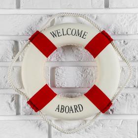 Спасательный круг с бечевкой 'welcome abroad', декор - крест, 4*26*26 см, МИКС Ош