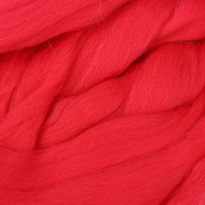 Гребенная лента 100% полутонкая шерсть 100гр (1390, коралл)