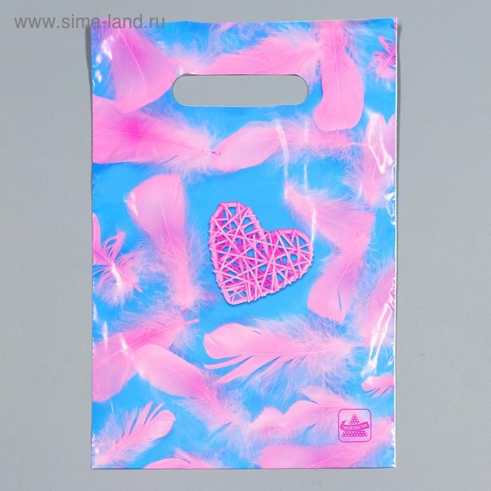 """Пакет """"Розовое сердечко"""", полиэтиленовый с вырубной ручкой, 20 х 30 см, 30 мкм"""