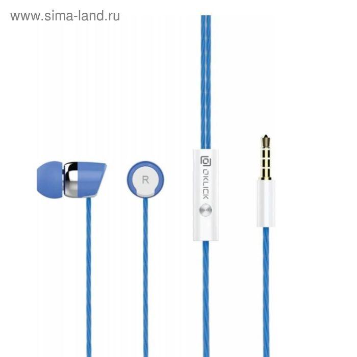 Наушники с микрофоном Oklick HS-S-230, вкладыши, в ушной раковине, провод 1.2 м, синие